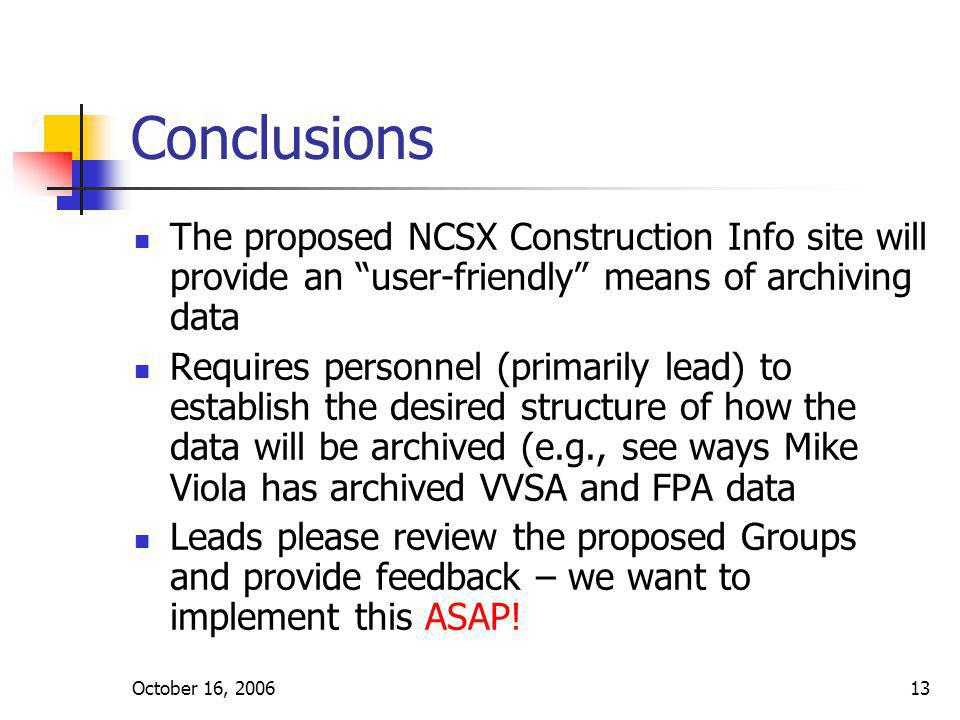 October 16, 200613 Conclusions The proposed NCSX Construction Info site will provide an user-friendly means of archiving data Requires personnel (primarily lead) to establish the desired structure of how the data will be archived (e.g., see ways Mike Viola has archived VVSA and FPA data Leads please review the proposed Groups and provide feedback – we want to implement this ASAP!