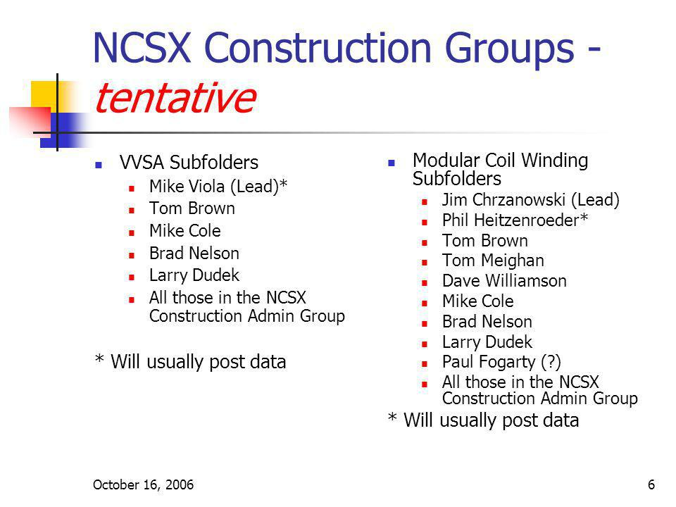 October 16, 20066 NCSX Construction Groups - tentative VVSA Subfolders Mike Viola (Lead)* Tom Brown Mike Cole Brad Nelson Larry Dudek All those in the
