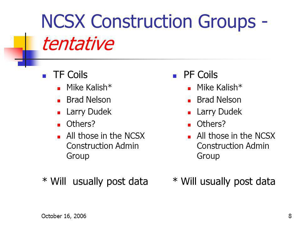 October 16, 20068 NCSX Construction Groups - tentative TF Coils Mike Kalish* Brad Nelson Larry Dudek Others? All those in the NCSX Construction Admin