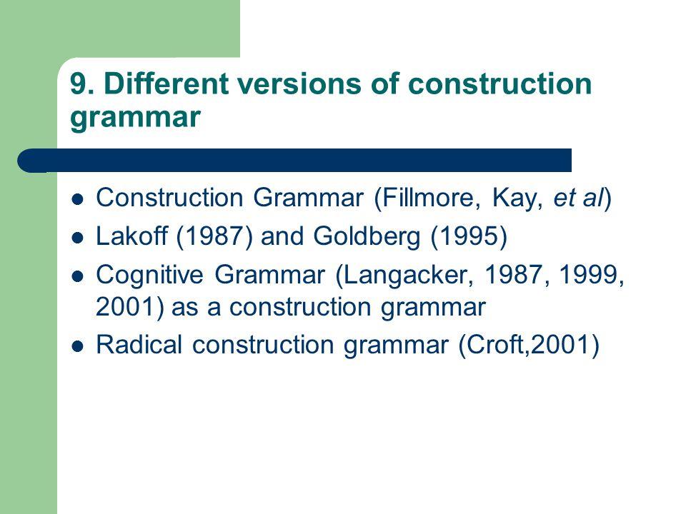 9. Different versions of construction grammar Construction Grammar (Fillmore, Kay, et al) Lakoff (1987) and Goldberg (1995) Cognitive Grammar (Langack
