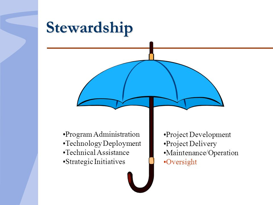 Stewardship Program Administration Technology Deployment Technical Assistance Strategic Initiatives Project Development Project Delivery Maintenance/Operation Oversight