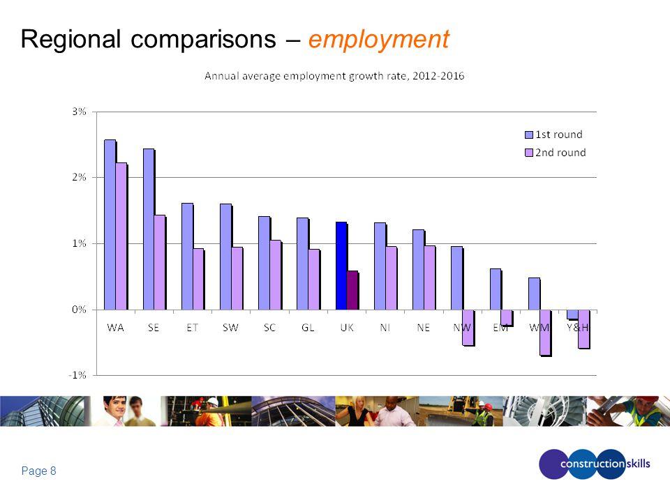 Page 8 Regional comparisons – employment