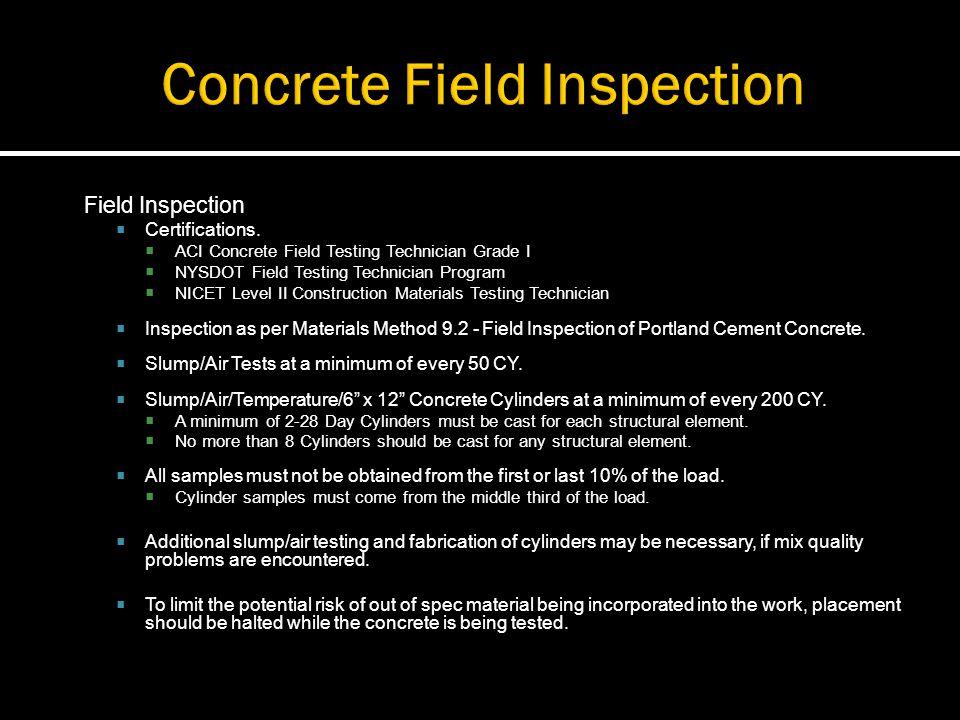 Field Inspection Certifications. ACI Concrete Field Testing Technician Grade I NYSDOT Field Testing Technician Program NICET Level II Construction Mat