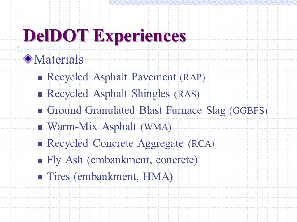 DelDOT Experiences Materials Recycled Asphalt Pavement (RAP) Recycled Asphalt Shingles (RAS) Ground Granulated Blast Furnace Slag (GGBFS) Warm-Mix Asp