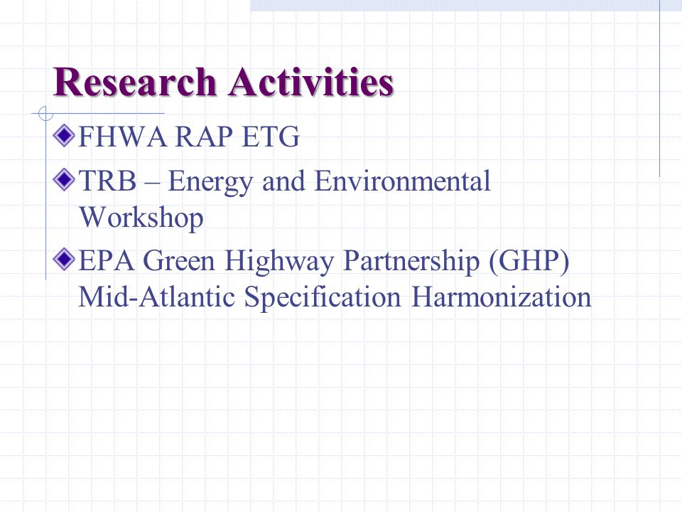 Research Activities FHWA RAP ETG TRB – Energy and Environmental Workshop EPA Green Highway Partnership (GHP) Mid-Atlantic Specification Harmonization