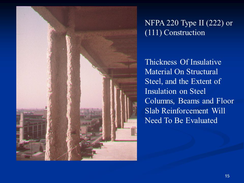 15 NFPA 220 Type II (222) or (111) Construction Thickness Of Insulative Material On Structural Steel, and the Extent of Insulation on Steel Columns, B