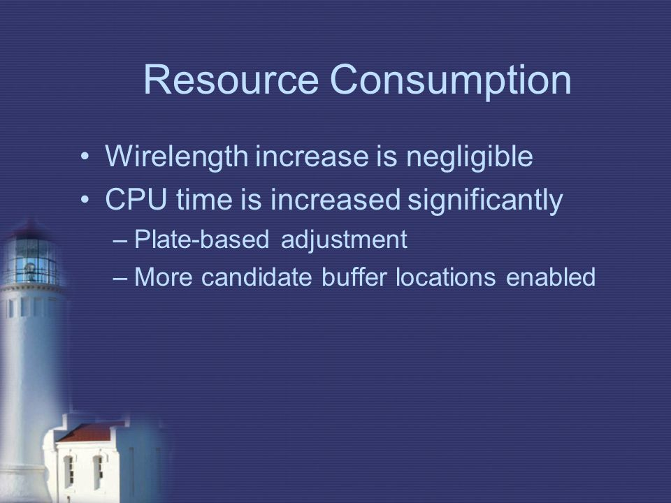 Resource Consumption Wirelength increase is negligible CPU time is increased significantly –Plate-based adjustment –More candidate buffer locations en