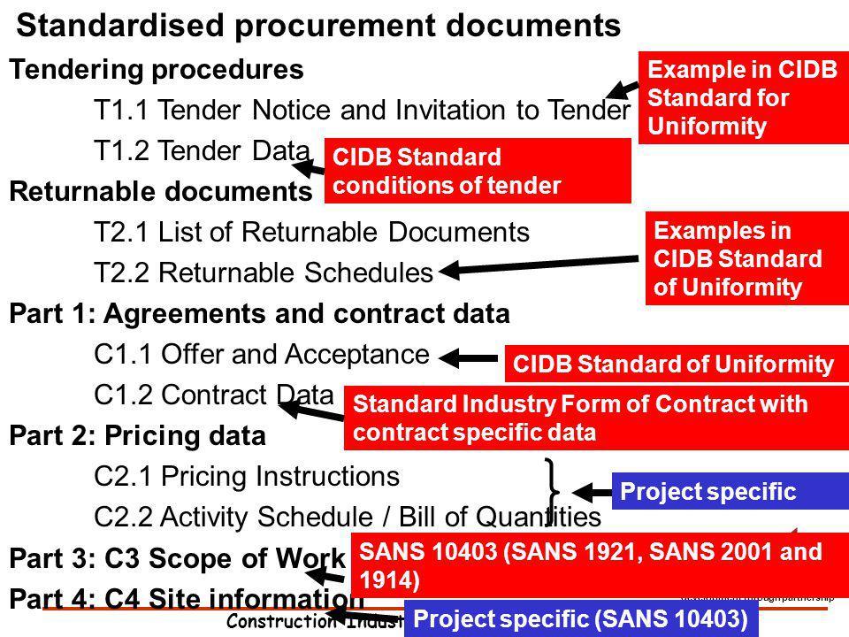 Construction Industry Development Board development through partnership Standardised procurement documents Tendering procedures T1.1 Tender Notice and