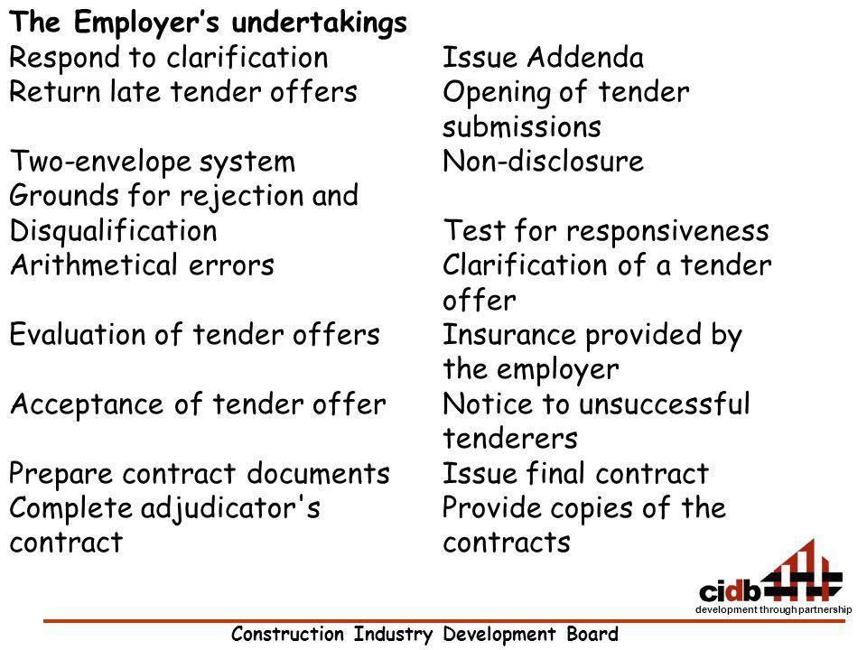 Construction Industry Development Board development through partnership The Employers undertakings Respond to clarificationIssue Addenda Return late t