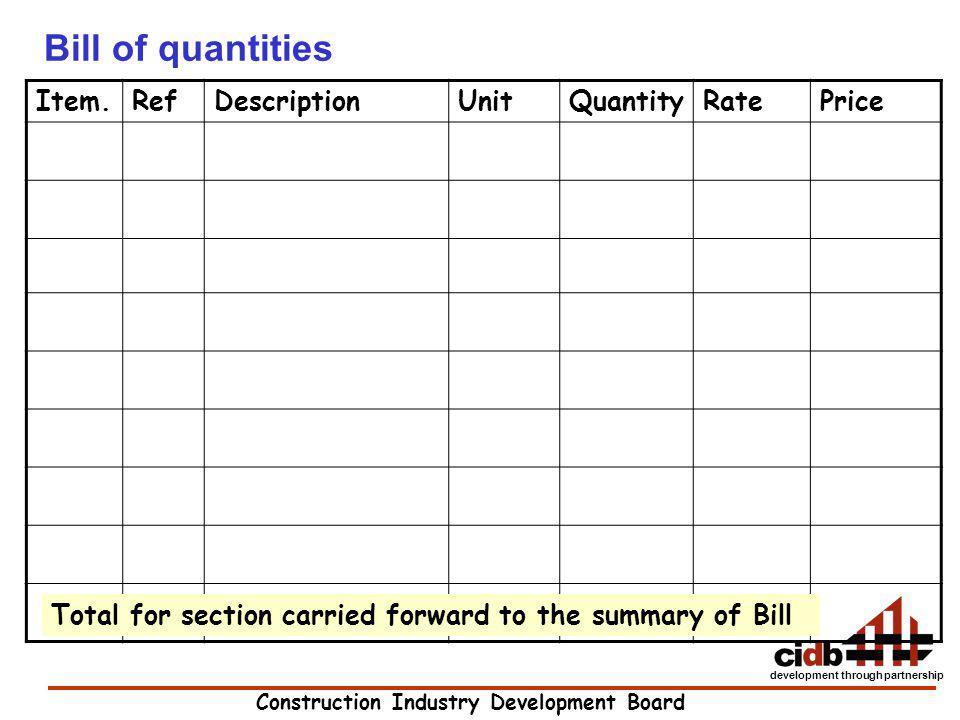 Construction Industry Development Board development through partnership Bill of quantities Item.RefDescriptionUnitQuantityRatePrice Total for section
