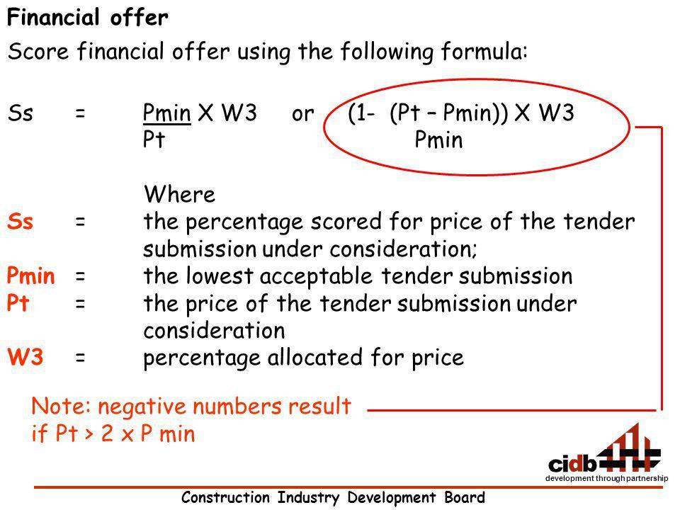 Construction Industry Development Board development through partnership Financial offer Score financial offer using the following formula: Ss = Pmin X
