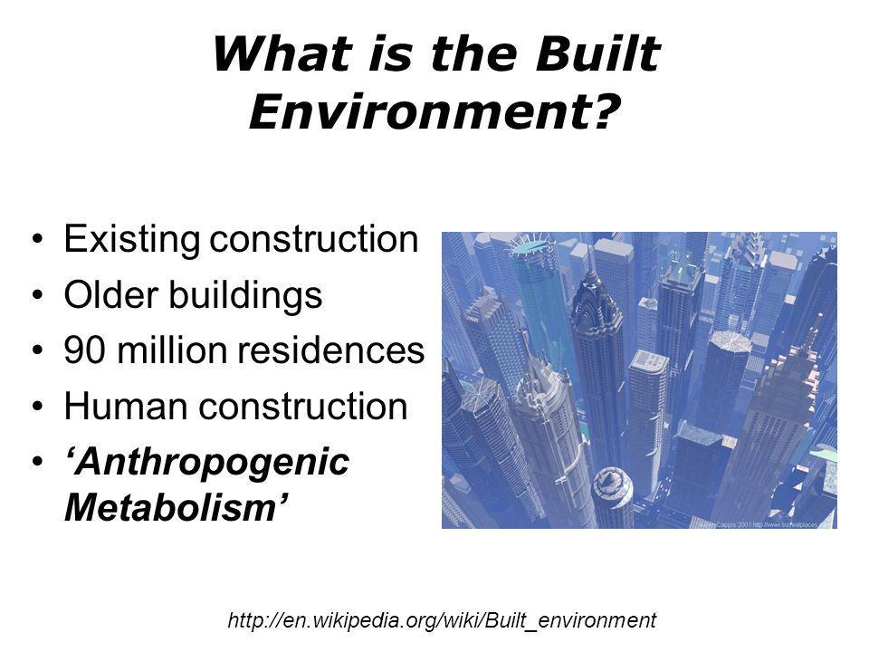 What is the Built Environment? Existing construction Older buildings 90 million residences Human construction Anthropogenic Metabolism http://en.wikip
