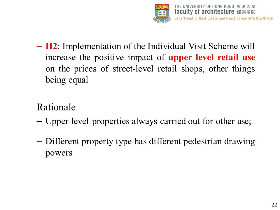 – H2: Implementation of the Individual Visit Scheme will increase the positive impact of upper level retail use on the prices of street-level retail s