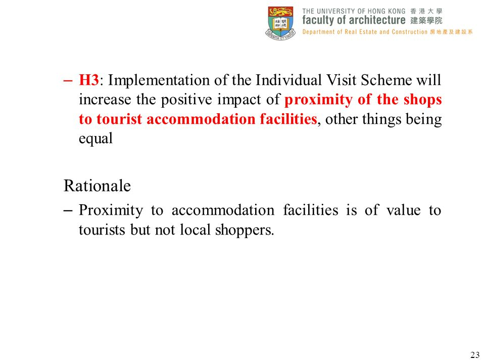 – H3: Implementation of the Individual Visit Scheme will increase the positive impact of proximity of the shops to tourist accommodation facilities, o