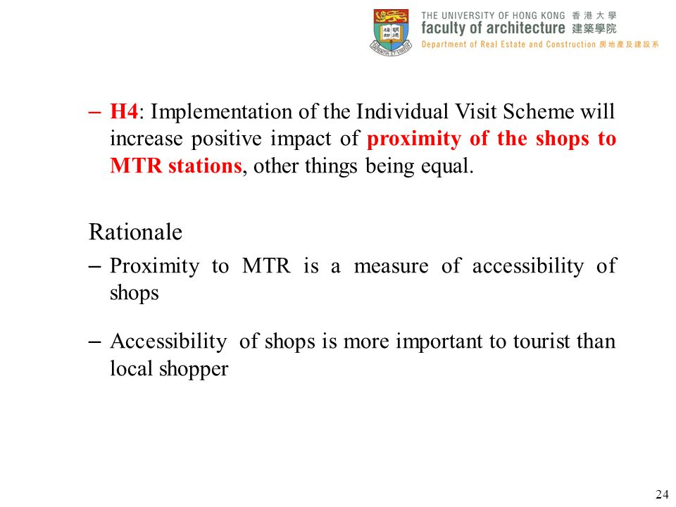 – H4: Implementation of the Individual Visit Scheme will increase positive impact of proximity of the shops to MTR stations, other things being equal.