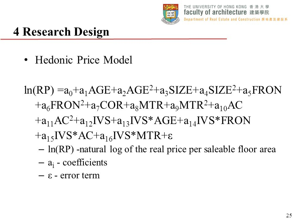 Hedonic Price Model ln(RP) =a 0 +a 1 AGE+a 2 AGE 2 +a 3 SIZE+a 4 SIZE 2 +a 5 FRON +a 6 FRON 2 +a 7 COR+a 8 MTR+a 9 MTR 2 +a 10 AC +a 11 AC 2 +a 12 IVS