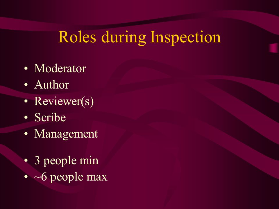 Roles during Inspection Moderator Author Reviewer(s) Scribe Management 3 people min ~6 people max