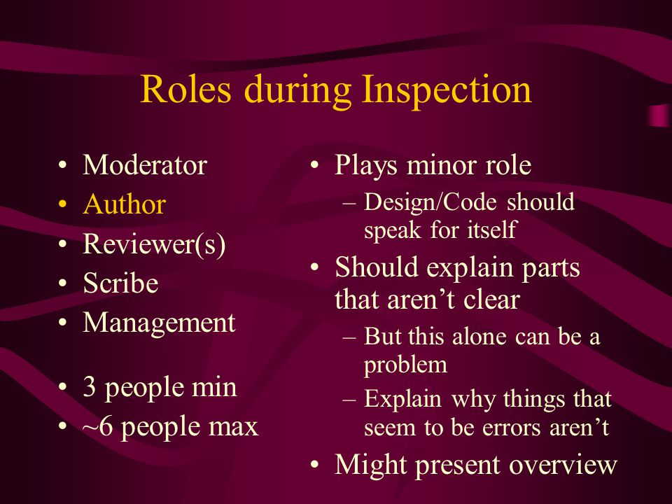 Roles during Inspection Moderator Author Reviewer(s) Scribe Management 3 people min ~6 people max Plays minor role –Design/Code should speak for itsel