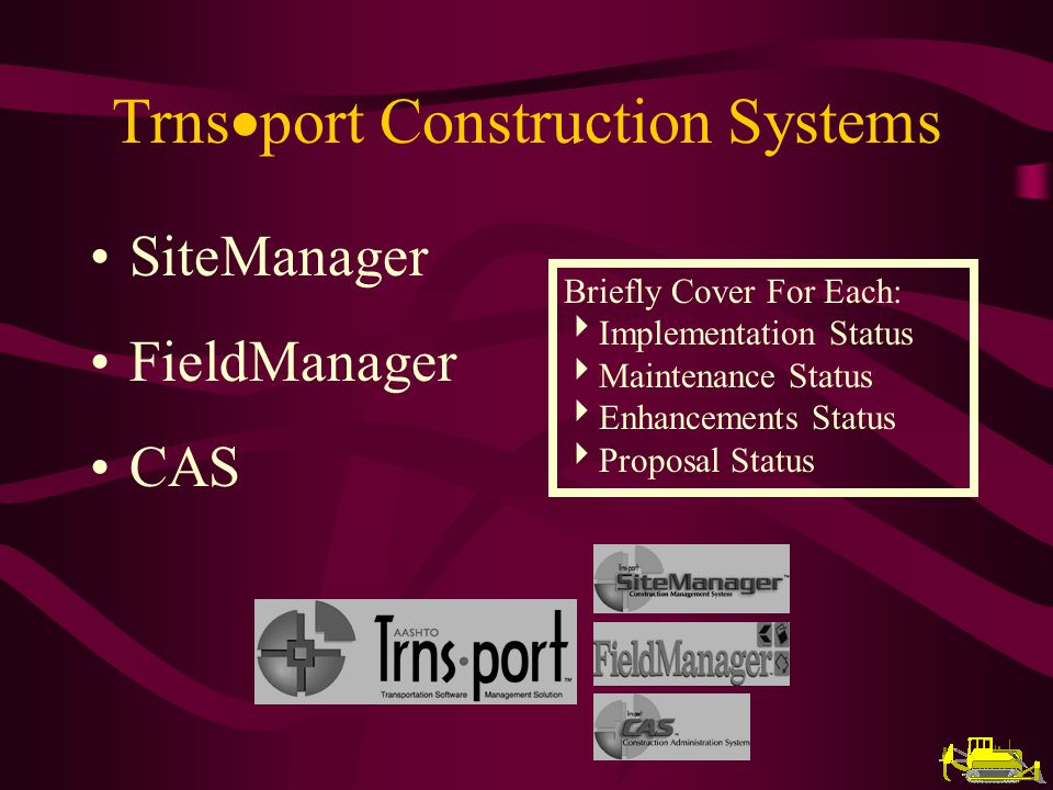 SiteManager Implementation Status 8 Agencies In Production - CO, MO, NE, NM, SC, TX, VT, NB (4 last year) 9 Agencies In Implementation - AL, AR, CT, FL, GA, IN, IA, LA, VA (12 last year) 4 Agencies Planning To Go Into Production in Next 8 Months - AL, CT, FL, IN 6 Agencies Have Shown Interest or Planning Implementation - CA, HI, MD, MT, NY, TN Demonstration CD is Available