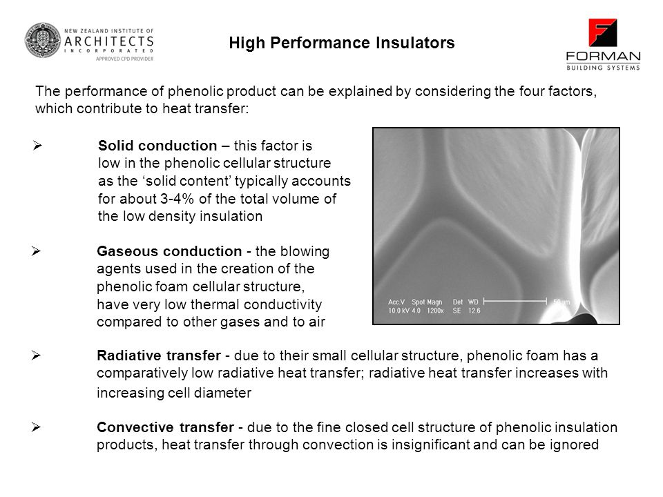 Convective transfer - due to the fine closed cell structure of phenolic insulation products, heat transfer through convection is insignificant and can