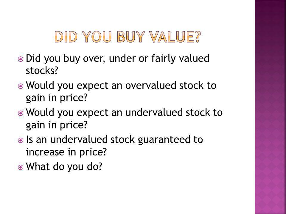 Did you buy over, under or fairly valued stocks? Would you expect an overvalued stock to gain in price? Would you expect an undervalued stock to gain