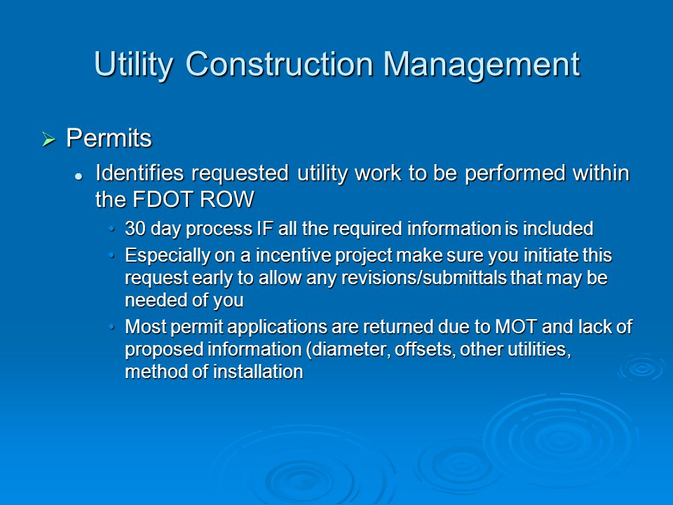 Utility Construction Management Utility Work Schedules Utility Work Schedules Identifies utility work associated for a specific project and time withi