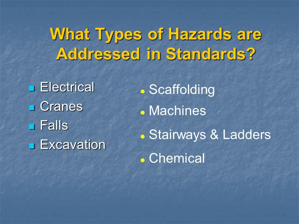 What Types of Hazards are Addressed in Standards? Electrical Electrical Cranes Cranes Falls Falls Excavation Excavation l Scaffolding l Machines l Sta