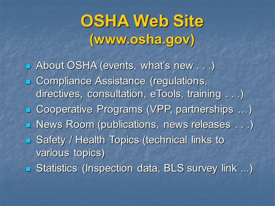 OSHA Web Site (www.osha.gov) About OSHA (events, whats new...) About OSHA (events, whats new...) Compliance Assistance (regulations, directives, consu
