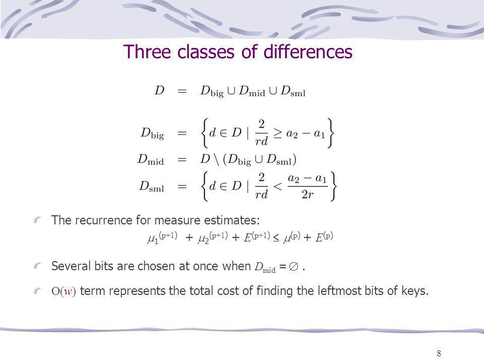 8 Three classes of differences The recurrence for measure estimates: 1 ( p+1 ) + 2 ( p+1 ) + E ( p+1 ) ( p ) + E ( p ) Several bits are chosen at once
