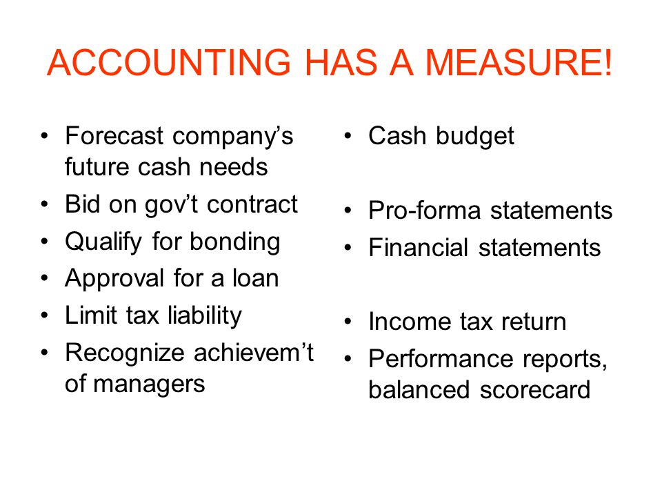 ACCOUNTING HAS A MEASURE.