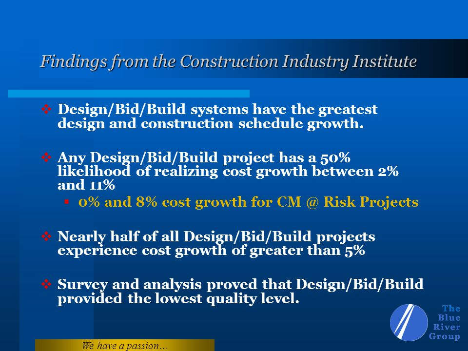 We have a passion… Findings from the Construction Industry Institute Design/Bid/Build systems have the greatest design and construction schedule growt