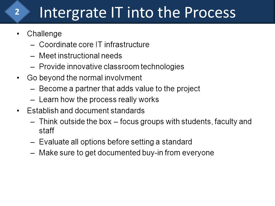 Challenge –Coordinate core IT infrastructure –Meet instructional needs –Provide innovative classroom technologies Go beyond the normal involvment –Bec