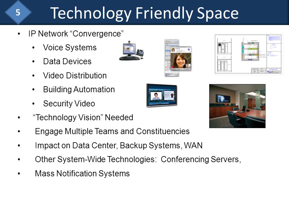 IP Network Convergence Voice Systems Data Devices Video Distribution Building Automation Security Video Technology Vision Needed Engage Multiple Teams
