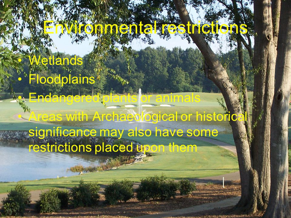 Environmental restrictions Wetlands Floodplains Endangered plants or animals Areas with Archaeological or historical significance may also have some restrictions placed upon them