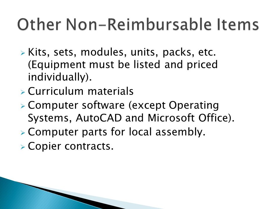Kits, sets, modules, units, packs, etc. (Equipment must be listed and priced individually).