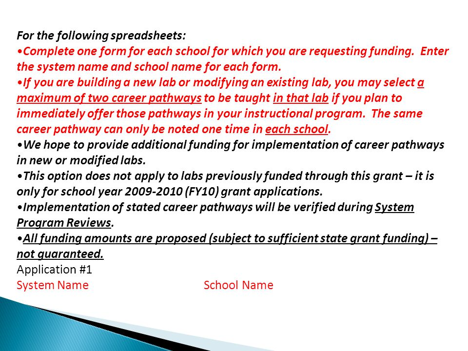 For the following spreadsheets: Complete one form for each school for which you are requesting funding.