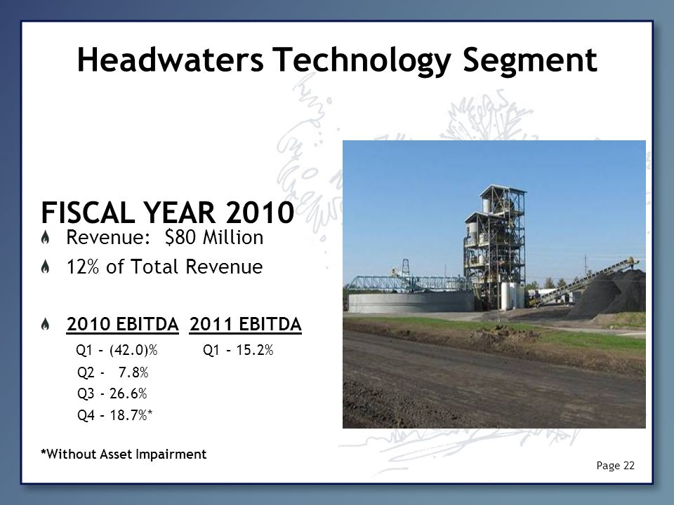 Headwaters Technology Segment Revenue: $80 Million 12% of Total Revenue 2010 EBITDA 2011 EBITDA Q1 – (42.0)% Q1 – 15.2% Q2 - 7.8% Q3 - 26.6% Q4 – 18.7