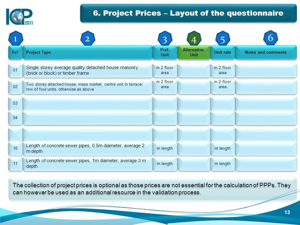 6. Project Prices – Layout of the questionnaire The collection of project prices is optional as those prices are not essential for the calculation of