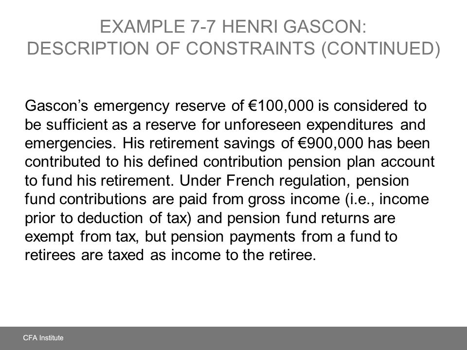 EXAMPLE 7-7 HENRI GASCON: DESCRIPTION OF CONSTRAINTS (CONTINUED) Gascons emergency reserve of 100,000 is considered to be sufficient as a reserve for