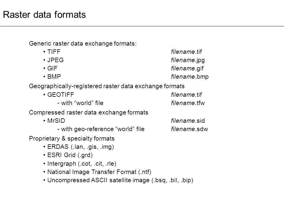 Raster data formats Generic raster data exchange formats: TIFF filename.tif JPEGfilename.jpg GIFfilename.gif BMPfilename.bmp Geographically-registered