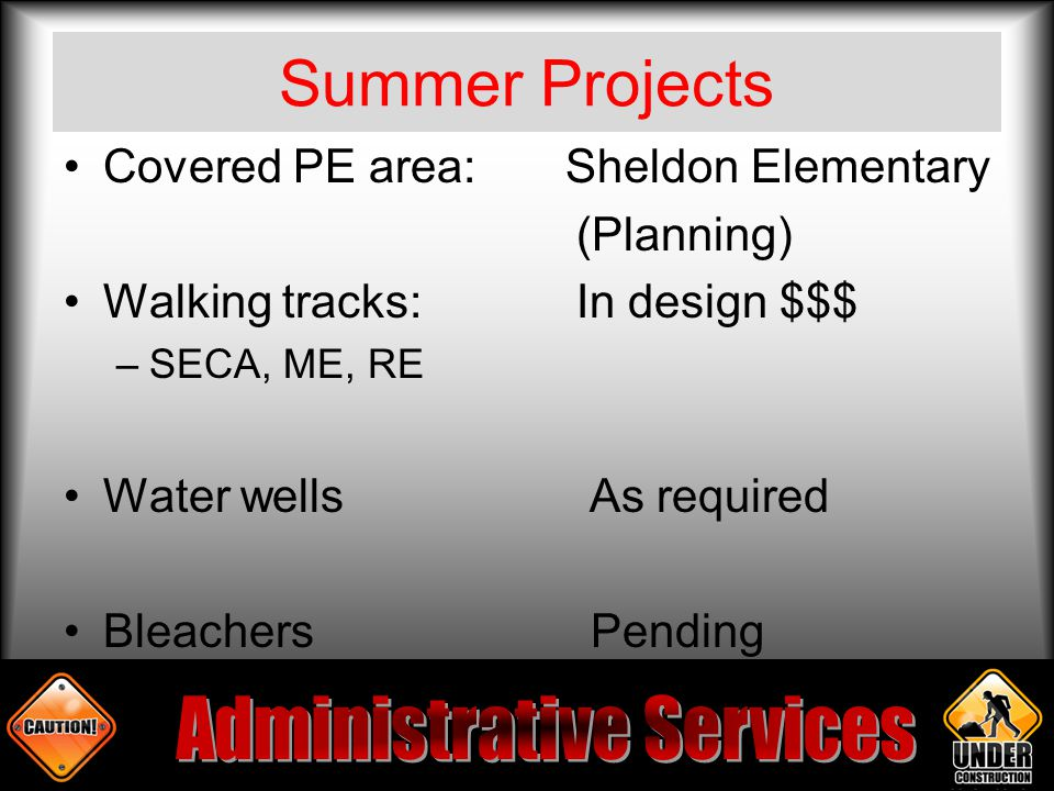 Summer Projects Covered PE area: Sheldon Elementary (Planning) Walking tracks: In design $$$ –SECA, ME, RE Water wells As required Bleachers Pending