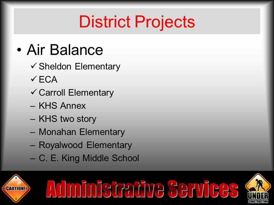 District Projects Air Balance Sheldon Elementary ECA Carroll Elementary –KHS Annex –KHS two story –Monahan Elementary –Royalwood Elementary –C.