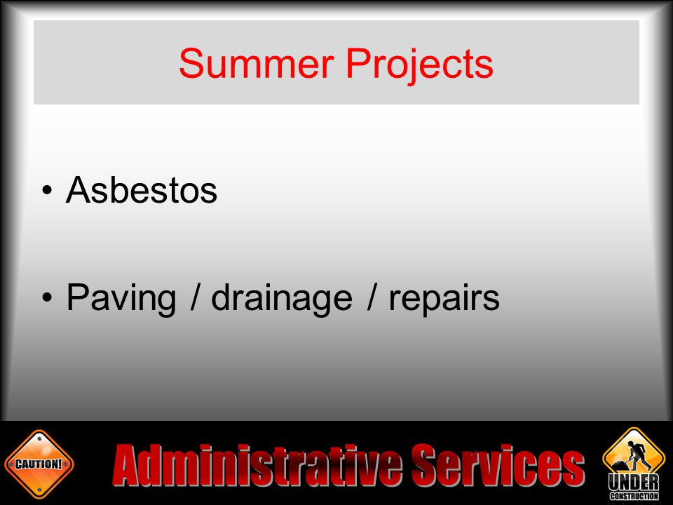 Summer Projects Asbestos Paving / drainage / repairs