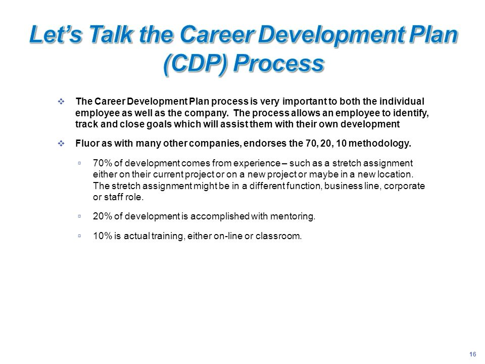 16 The Career Development Plan process is very important to both the individual employee as well as the company. The process allows an employee to ide