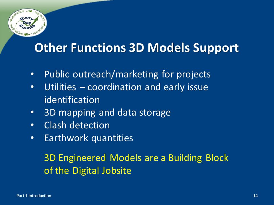 3D Engineered Models are a Building Block of the Digital Jobsite Part 1 Introduction14 Other Functions 3D Models Support Public outreach/marketing for