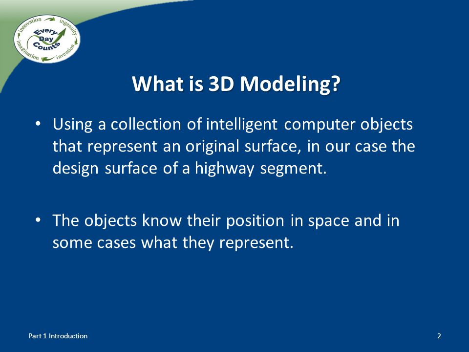 What is 3D Modeling? Using a collection of intelligent computer objects that represent an original surface, in our case the design surface of a highwa