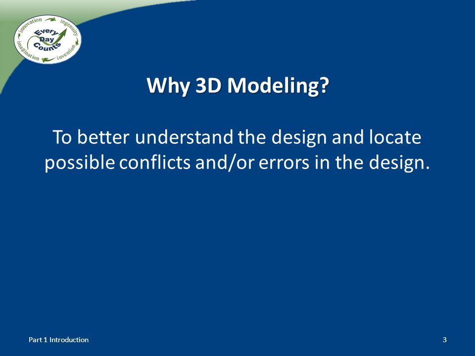 To better understand the design and locate possible conflicts and/or errors in the design. Why 3D Modeling? Part 1 Introduction3