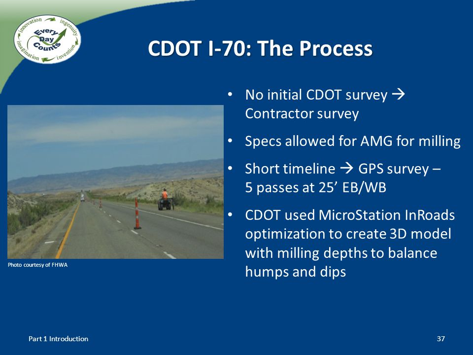 CDOT I-70: The Process No initial CDOT survey Contractor survey Specs allowed for AMG for milling Short timeline GPS survey – 5 passes at 25 EB/WB CDO