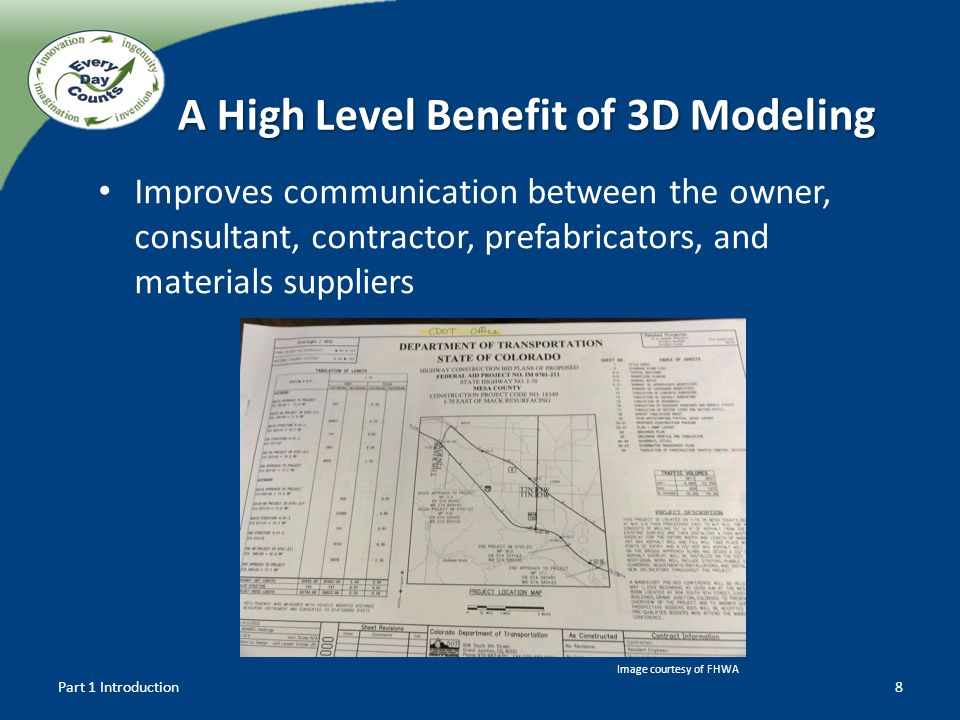 A High Level Benefit of 3D Modeling Improves communication between the owner, consultant, contractor, prefabricators, and materials suppliers Part 1 I