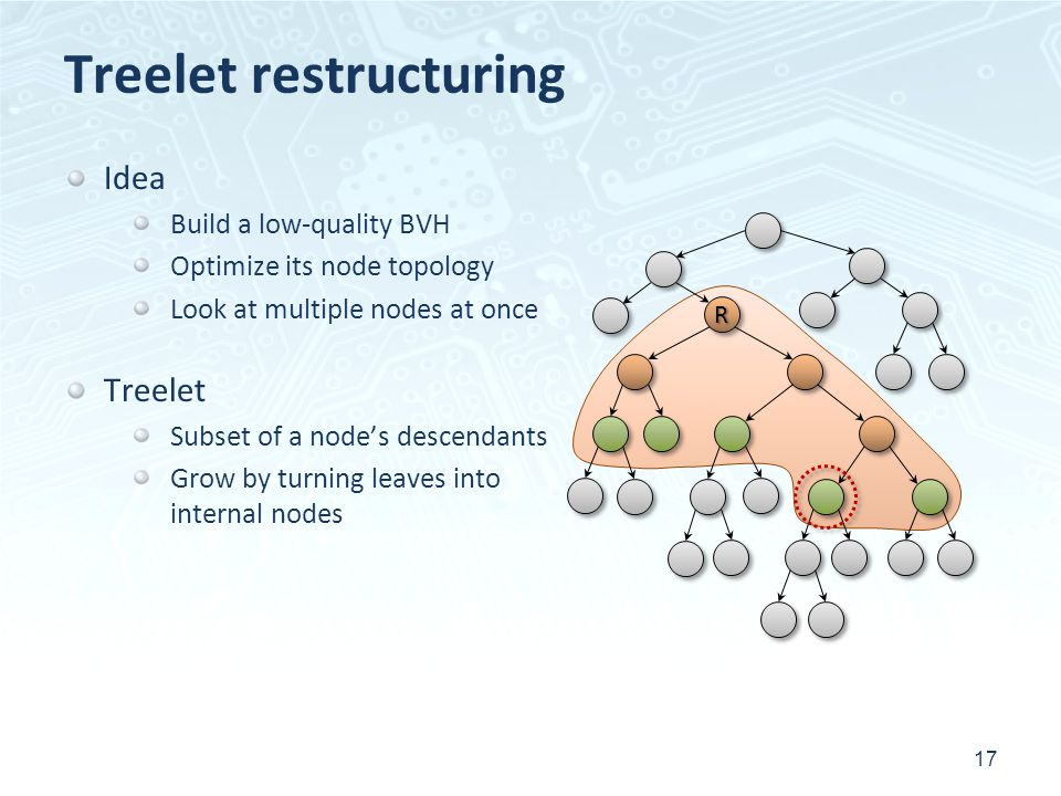 RR Treelet restructuring 17 Idea Build a low-quality BVH Optimize its node topology Look at multiple nodes at once Treelet Subset of a nodes descendants Grow by turning leaves into internal nodes